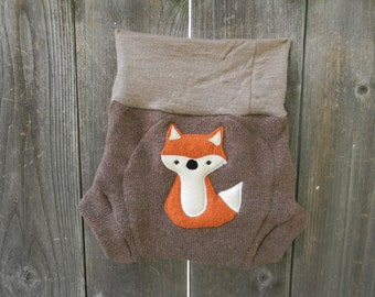 Upcycled  Wool Soaker Cover Diaper Cover With Added Doubler Light Brown /Tan With Fox Applique LARGE 12-24M Kidsgogreen