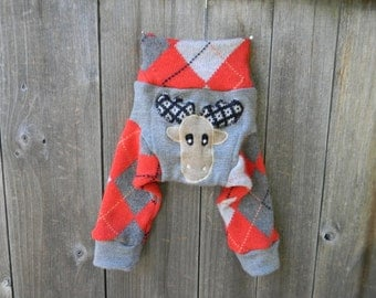 NB Upcycled Wool Longies Soaker Cover Diaper Cover With Added Doubler Gray / Orange Color Argyle With Moose Applique 0-3M Kidsgogreen