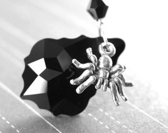Sterling Silver Spider Necklace Swarovski Black Crystal Necklace Silver Spider Pendant Necklace Haloween Jewelry Silver Spider Charm