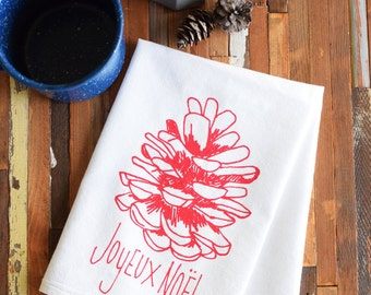 Cloth Napkins - Screen Printed Cotton Cloth Napkins - Eco Friendly Dinner Napkins - Joyeux Noel - Cotton Napkins - Christmas Napkins - Pine