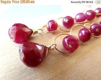 """3DAY SALE 3"""" long.  Ruby earrings. Gold Ruby earrings. July birthstone earrings. Ruby briolette drop. Statement Jewelry Modern Handmade"""