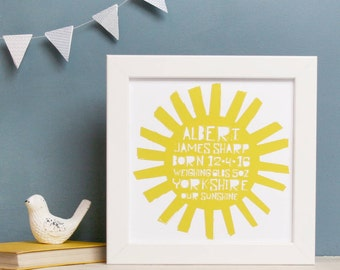 Personalised New Baby Sunshine Print