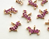 PD-1565-RG / 2 Pcs - Tiny Mini Delicate CZ Dachshund Charm, Dog Pendant (Ruby), Rose Gold Plated over Brass / 8mm x 5.6mm