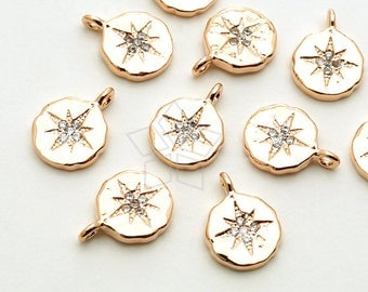 PD-1447-RG / 2 Pcs - CZ North Star Pendant, Textured Disc Pendant (Small Size), Rose Gold Plated over Brass / 7.8mm x 10.5mm