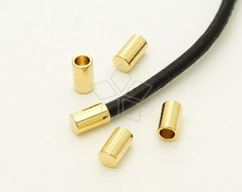 FE-020-GD / 10 Pcs - Cord End Caps (without Loop) for 2mm Leather, Cord Terminators, 16K Gold Plated over Brass / 2.2mm inside diameter