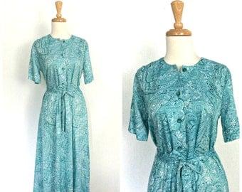 Vintage Blue Dress - shirtwaist - 70s dress - swing dress - knee length - paisley dress - secretary - 40s style dress - M