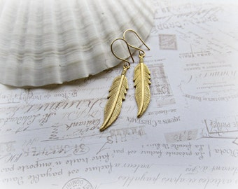 Gold Feather earrings, 14k Gold Filled earrings