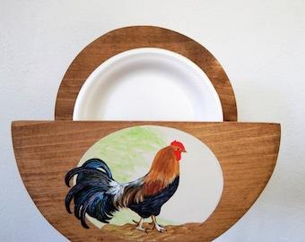 Paper Plate Holder.rooster paper plate holder,Rooster Decor,Rooster Kitchen Decor,Rooster Kitchen,Paper Plate Storage,Wooden Plate Holder