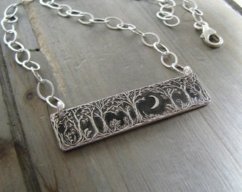 Forest Moon Necklace No. 2, Fine and Sterling Silver Jewelry, Handmade Original, by SilverWishes