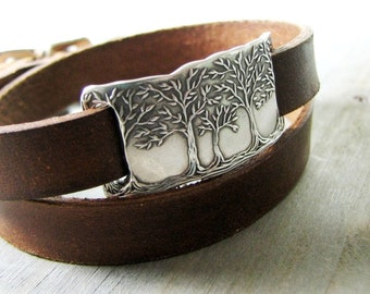 Peace, Fine Silver Forest Link with Double-Wrap Leather Bracelet, Recycled Silver, SilverWishes Original
