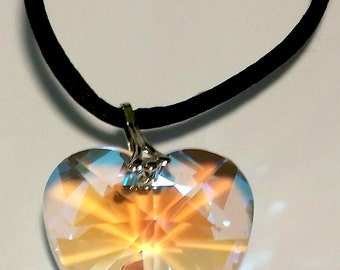 AB Crystal Heart Necklace On A Black Cord Handcrafted With Swarovski Crystal