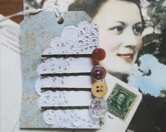 Hair Pin Set Made From Vintage Buttons, Button Bobby Pin Set, Romantic, Shabby Chic Hair Accessories
