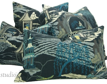 Chinoiserie Pillow Cover - PICK YOUR SIZE - Pagoda - Asian - neo toile - indigo - Japanese  - Cotton - Made to Order