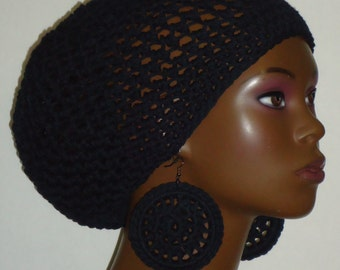 SALE Cotton Crochet Beret Tam and Earrings by Razonda Lee Razondalee Ready to Ship