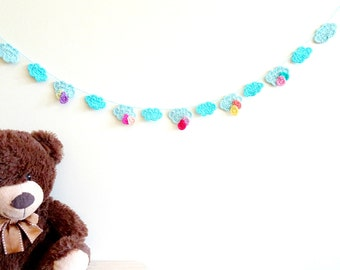 Colorful clouds garland - crochet clouds banner - kids room decorations - kids birthday party decorations - blue clouds decor ~35.5 in