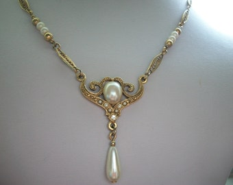 Pearl and Filigree Victorian Style Necklace by 1928 Co