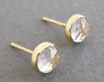 Topaz 14k solid gold stud earrings,Real  Topaz   post earrings ,6 mm semy precious errings