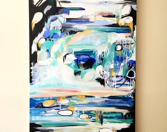 Large Abstract Acrylic Painting - Abstract Expressionism - Large Abstract - Original Abstract Painting - Black and Blue - Large Painting