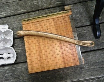 """Ingento # 3 Paper Cutter 10"""" - Wood & Brass - Needs Repair or Use as Cheese Board"""