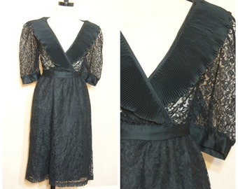 60s 70s Sheer Black Lace Dress Medium Ruffle Collar Tie Waist Party Dress Retro