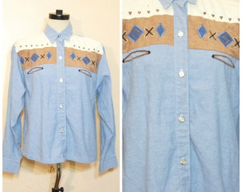 Southwestern Chambrary Button Down Blouse Top Small Medium 80s 90s Western