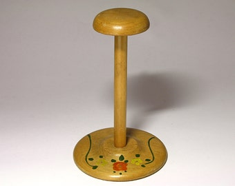 Vintage Wooden Hat Stand with Hand Painted Flowers - circa 1940s