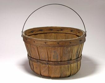 Primitive Farm Basket with Wire Bail Handle - circa 1940's