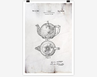 Patent Art Tea Pot, 1938 - Large Patent Art Print Oversized Print Patent Art Print Wall Decor Vintage Art Patent Print Wall Hanging 01.