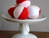 Valentine's Day Red Pink and White Fleece Squeaky Dog Ball toy small