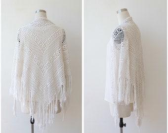 Vintage 70s Crochet Shawl, Boho Shawl Hippie Bohemian Hand Knitted White Ivory Fringe Wrap Shawl