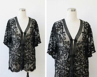 1980s vintage black sheer top, beaded embroidered mesh evening jacket top