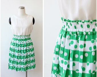 1960s Mod Pleated Skirt Printed Mini Skirt Mod Skirt Mini Skirt Small Medium