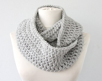 Crochet infinity scarf gray infinity scarf crochet scarf circle scarf winter scarf fall scarf christmas gift idea for her winter accessories