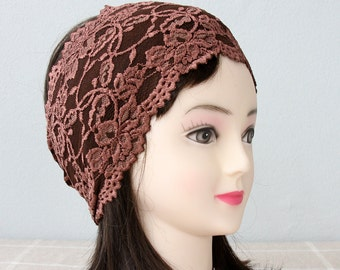 Brown lace headband adult headband woman wide headbands for women elastic headband yoga headband workout headband gift for her strech band