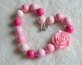 Shade of Pink Rose Chunky Bubble Gum Ball Necklace: Valentine's Day Photo Prop