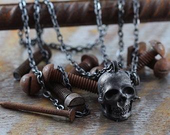 Cool collier noir pendentif tête de mort des bijoux Carpe Diem