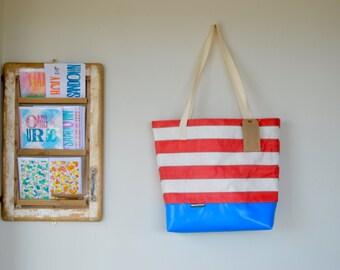 Wyatt and Jack Upcycled Red & White Stripy Vintage Deckchair Canvas Beach Bag