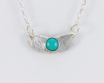 Handcrafted Sterling Silver Crescent and Turquoise Cabochon Pendant Petite Minimalist Contemporary Artisan Jewelry Design 0649614582916