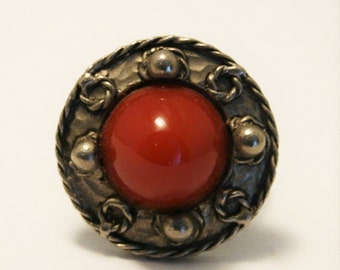 Vintage Celtic style ring.  Red glass ring.  Adjustable ring.  Miracle style ring