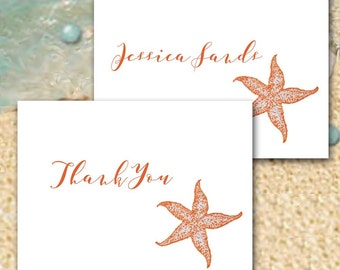 Personalized Starfish Note Cards, Sea Star Thank You Cards, Custom Made to Order, Beach Wedding, Coral and Sand, Blank Cards, Set of Ten
