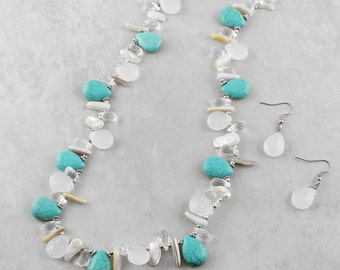 Long Layering Necklace, Long Random Necklace, Turquoise, Crystal and Pearl Jewelry, Bohemian Necklace, Mixed Media Jewelry, Necklace Set