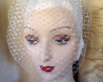 Silver birdcage new years eve 9 inch blusher veil of french veiling - ready to ship