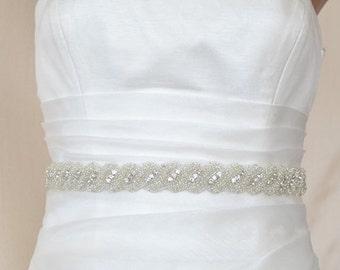 Elegant Rope Rhinestone Beaded Wedding Dress Sash Belt, jewelery sash