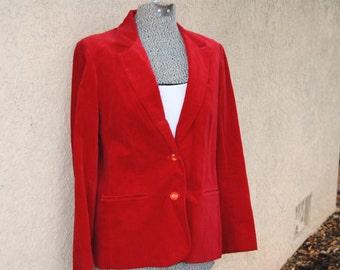 Vintage 1980's Red Velvet Jacket