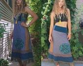 SALE Eco tube dress or skirt, size S/M,  strapless dress, hippie skirt, festival dress, fringe dress, boho dress,earthy dress, swirl skirt,