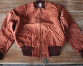 Vintage 1950's Bomber Jacket // 40s 50s Auburn Brown H&A Leather Suede Flight Jacket // NOS // Sportswear S1