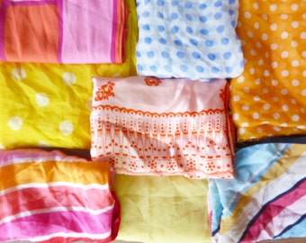 8 Vintage Spring/Summer Colors Scarf Collection-Candy colors! //1950s 60s 70s // 8 Scarf Bulk Lot//#R0704