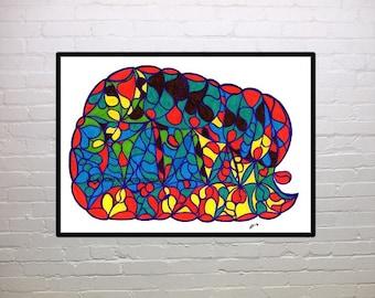 Sleeping Baby Elephant, children's wall art, abstract, fantasy, print, red, blue, green, yellow, brown, purple, orange, home decor