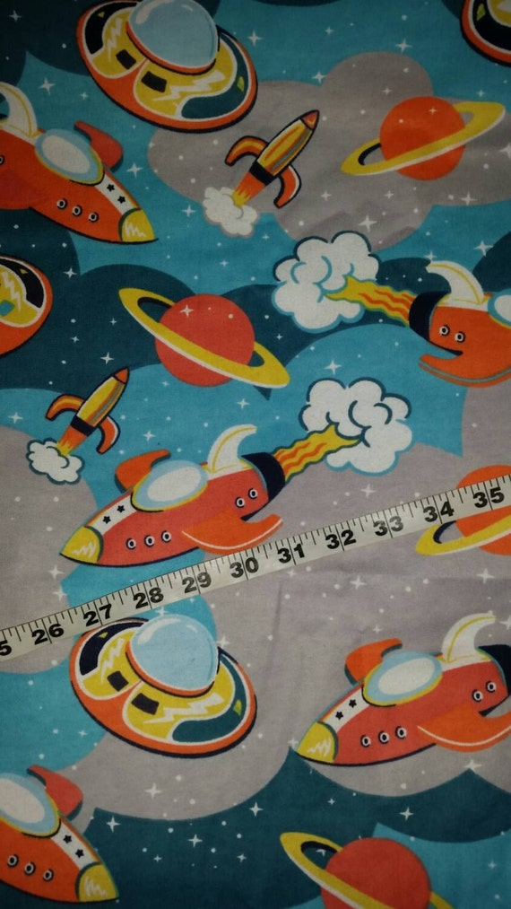 Flannel kids fabric with rockets space ships planets cotton for Space themed fleece fabric
