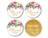 Gold Thank You Tags, Thank You Favor Circles, Birthday Thank you, Glitter and Floral Thank You Tags, Printable Stickers - 1502
